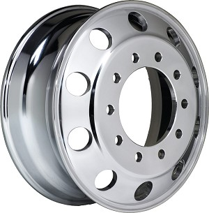"Accuride¨ Aluminum Wheel 22.5"" x 8.25"" Hub-Piloted 10-Hole Ultra Polished"