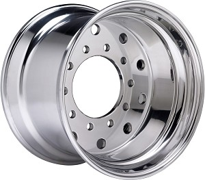 "Accuride¨ Aluminum Wheel 22.5"" x 14.00"" Hub-Piloted 10-Hole 2 inch Outset Ultra Polished"